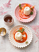 Buttermilk panna cotta with carrot syrup