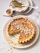 Almond tarte brûlée with dates and vanilla pulp
