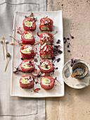 Tuna rolls with cream cheese, avocado and shiso cress