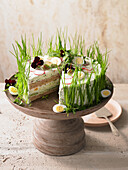 Cucumber and cream cheese tart with spring herbs