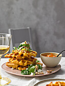 Rosemary-and-sweet potato waffles with spinach and a spicy orange syrup