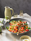 Oriental sweet potato salad with strawberries, chickpeas and almonds