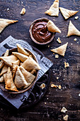 Salty sourdough crackers with chocolate cream