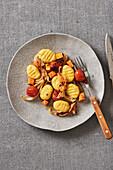 Handmade gnocchi with roast vegetables