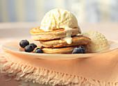 Clotted cream ice cream with pancakes