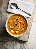 Pumpkin soup with fire roasted chestnuts and brown butter