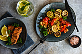 Grilled salmon steak and vegetables