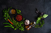 Traditional Georgian cooking concept with variety of spices, sauces and herbs