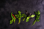 Variety of raw herbs on black concrete background