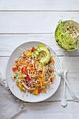 Lentil sprout rainbow salad