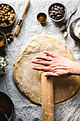 Rolling the dough with hand in motion
