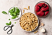 Ingredients for roasted red pepper pasta