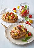 Tomato, mozzarella and basil Hasselback rolls