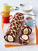 Marble roll with custard and banana