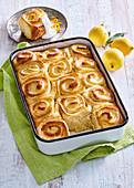 Lemon rolls in baking tray