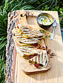 Cheese, grape and pecan quesadillas