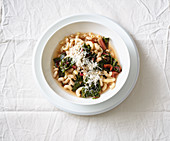 Italian chard soup with beans and durum wheat pasta