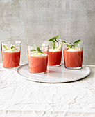Watermelon jelly with cinnamon, yoghurt and mint