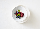 Blueberries and lemon sorbet