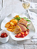 Baked duck breast with strawberry chili sauce