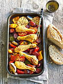 Baked chicken drumsticks with red pepper