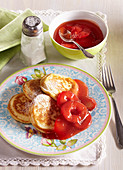 Wholemeal pancakes with red plum jam