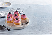 Coconut muffins with blackberry cream