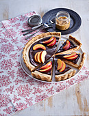 Cake with peanut butter and nectarines
