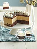 Cake Brownies with custard and coffee cream