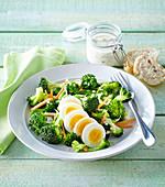 Broccoli salad with boiled eggs