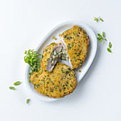 Breaded escalope with cheese and herb stuffing