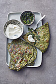 Indian paratha with green chutney