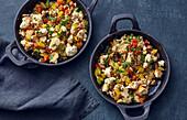 Vegan tofu 'scrambled' eggs with vegetables