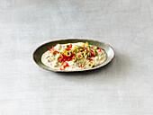 Turkish cheese cream with herbs
