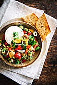 Bulgarian vegetable salad with goat's cheese