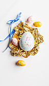 Pastel coloured chocolate Easter eggs