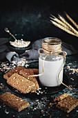 Healthy oat bars and oat milk