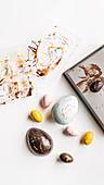 Handmade chocolate Easter eggs