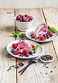 yogurt served with honey and berries
