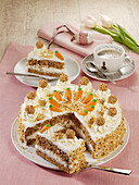 Carrot and nut cake with mascarpone cream