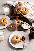 Bagels with cream cheese and jam