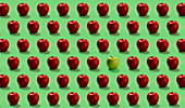 Group of red apples and one green on green background