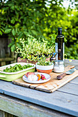 Ingredients for Chimichurri on outdoor table