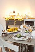 Set Christmas table with monkfish terrine