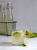 Drink with kefir, water and lime