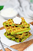 Wild garlic waffles made with konjac flour, quark and linseed (low carb)