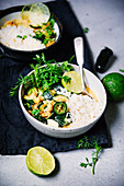 Zucchini chickpea curry with cashews