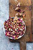 Edible dried petals