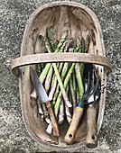 Green asparagus in a wooden basket
