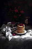 Pancakes with raspberry